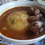 Fufu - a thick paste made by boiling starchy root vegetables, then pounding in a mortar (Favourite in Ghana)<span class=