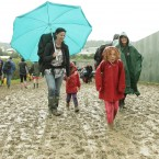 Some of Glastonbury's youngest fans arrive to soak up the atmosphere. Pic: Yui Mok/PA Wire