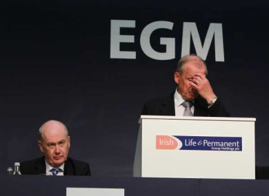 Irish Permanent chairman Alan Cook (right) and CEO Kevin Murphy pictured at last week's EGM, when shareholders voted to block the government's latest recapitalisation.