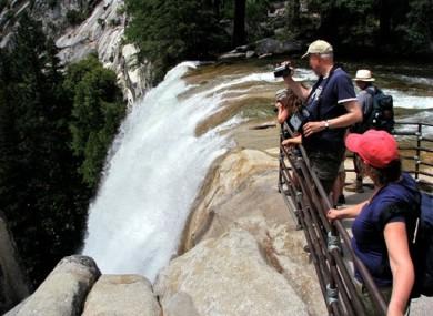 The top of Vernal Fall in Yosemite National Park in California.