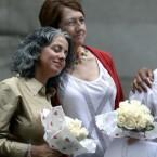Carol Anastasio, left, and Miriam Brown, were married at the Manhattan City Clerk's office. (AP Photo/Jason DeCrow)