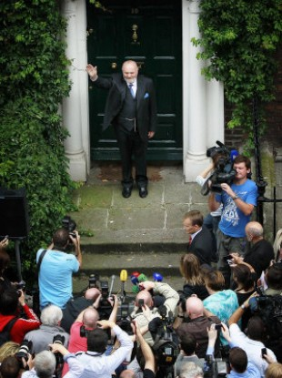 Senator David Norris outside his home in Dublin, after he announced that he has pulled out of the presidential race.