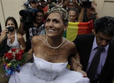 Transsexual Wendy Iriepa arrives for her wedding with best man Reinaldo Escobar in Havana, Cuba, Saturday Aug. 13, 2011.
