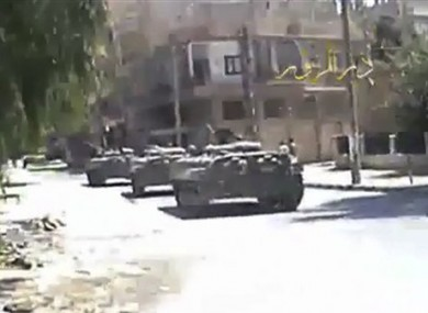 Syria tanks on the street in Deir el-Zour Syria on Tuesday Aug. 9. 2011.