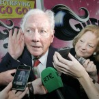 Undeclared presidential candidate Gay Byrne answers questions outside Grease the Musical at Dublin's Grand Canal Theatre (Mark Stedman/Photocall Ireland)
