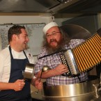 Cavan native and TV Chef Neven Maguire helps kick off the fleadh with Martin Donohue.