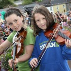 Two young musicians take part in the Scoil Eigsce open air concert.