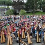 Harpists play in sync during the Scoil Eigsce open air concert at Cavan's Cathedral.