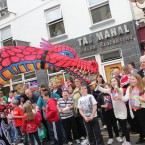 Crowds line the street of Cavan for the Fleadh pageant.