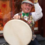 A bodhrán player in Cavan during the Fleadh, which claims to be the world's largest Irish music festival.