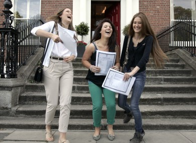 Students celebrate their results outside Loreto College in Dublin today.
