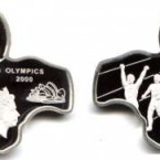 Zambia went all out to celebrate the Sydney Olympic Games in 2000, issuing Australian- and Zambian-shaped coins. The silver proof 5000 Kwacha coin shows the two countries joined together but you would never know by the design that Australia is about ten times the size of Zambia!