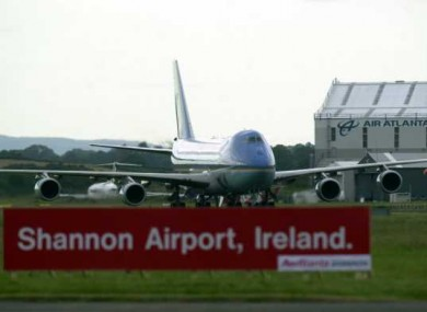 Air Force One, carrying George W Bush, lands in Shannon in 2004. The United States would have been prepared to stop using the facility in 2003, but had been encouraged not to do so by Ireland, according to RTÉ's report.