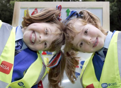 Alanna, left, and Faye McEntaggart from Rathbeggan National School in Dunshaughlin helping to launch the high-vis vest campaign last year.