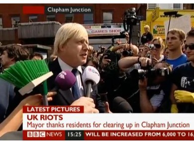Boris Johnson speaking to crowds gathered at Clapham Junction