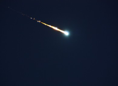 A fireball like the one which landed in Ireland last week