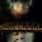 The Burrard Street Bridge as fireworks blast during the Celebration of Light in Vancouver, Canada. (AP Photo/The Canadian Press, Jonathan Hayward)
