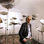 Bob Geldoff examines 'For all Mankind 2011' by artist Mark Clare at the DubCon 2011 launch. Image: Marc O'Sullivan