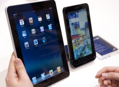 Spot the difference? The one on the right is a Samsung, the one on the left is an iPad.