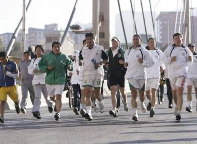Bolivia's President Evo Morales (second left) even jogged to work yesterday.