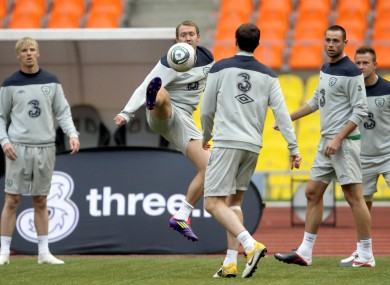 Ireland train ahead of the game today.