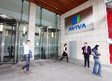 Staff outside Aviva headquarters in Dublin today.