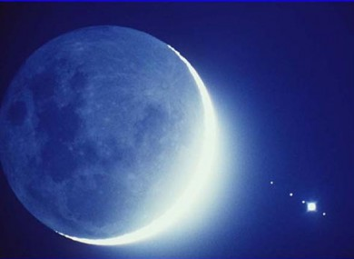 The Moon and Jupiter as they appeared in September 1990
