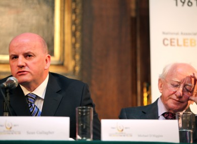 Seán Gallagher with Michael D Higgins at the Inclusion Ireland debate today.