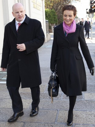 Seán Gallagher with his wife Trish on the campaign trail today.