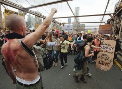 Protesters on the Brooklyn Bridge yesterday