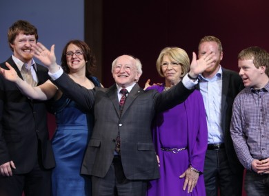 Michael D Higgins, wife Sabina and family today.