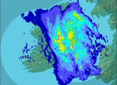 A Met Éireann radar photograph shows the scale of the rainfall across Ireland yesterday at 5pm.