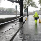 Wolfe Tone Quay in Dublin city centre was closed due to subsidence after flooding. Photo Sam Boal/Photocall Ireland