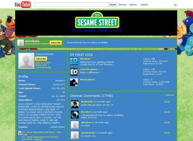 How the Sesame Street channel looked after being hacked on Sunday.