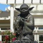A statue of Star Wars character Yoda stands proudly in The Presidio of San Francisco. 