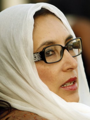 Pakistan's former Prime Minister Benazir Bhutto at her last rally in Rawalpindi, Pakistan, in 2007