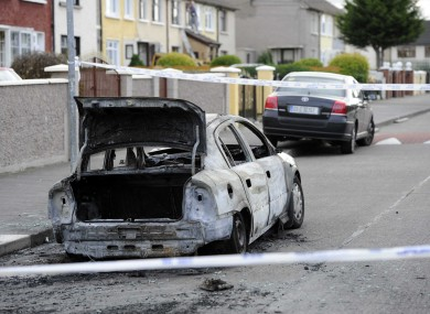 The burned-out car in Ballyfermot today.