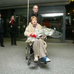 Probably a low-point in her two terms, McAleese returns to Dublin Airport after breaking her ankle while on holiday in Austria in December 2002. 