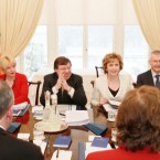 Then-Taoiseach Brian Cowen and President Mary McAleese join members of the Council of State as they meet at Aras an Uachtarain to discuss the Credit Institutions (Stablisation) Bill 2010.