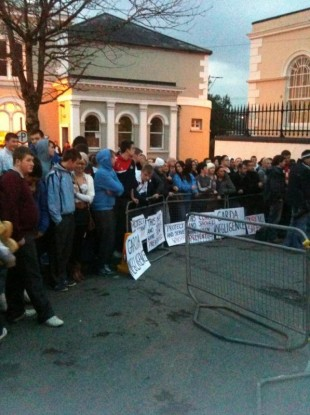 Crowds outside Bandon courthouse last night
