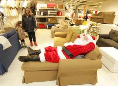 Santa relaxing in his flat-pack grotto in Ikea in Dublin's Ballymun yesterday.
