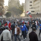 Egyptian protesters gather around Tahrir square during the clashes with the Egyptian riot police today. (AP Photo/Mohammed Abu Zaid/PA Images)