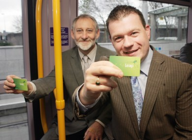 NTA chief Gerry Murphy and junior minister for Public and Commuter Transport Alan Kelly with the Leap card