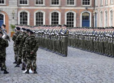 The Defence Forces rehearsing for today's inauguration ceremony.