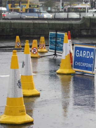 File photo of a garda roadblock during the October flooding in Dublin.
