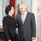 Actress Neve Campbell and Arts Minister Jimmy Deenihan on location at Howth Castle today.Image: Laura Hutton/Photocall Ireland