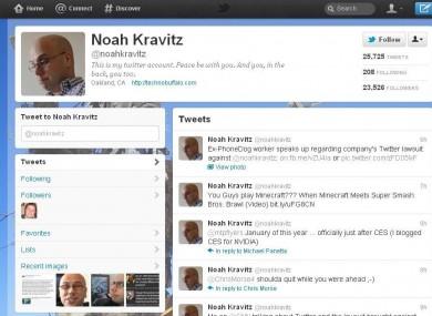 Noah Kravitz's Twitter page as it is now.