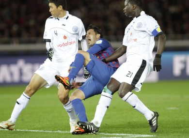 Villa breaks his tibia during the World Club Cup game with Al-Sadd.