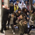 Shoppers rush into Selfridges.