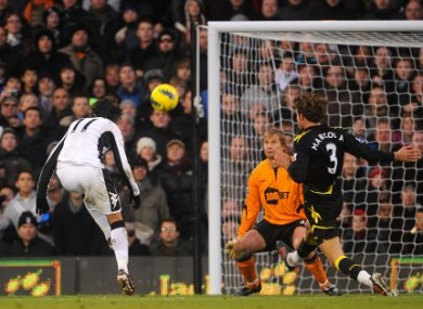 Bryan Ruiz scores for Fulham against Bolton on Saturday.